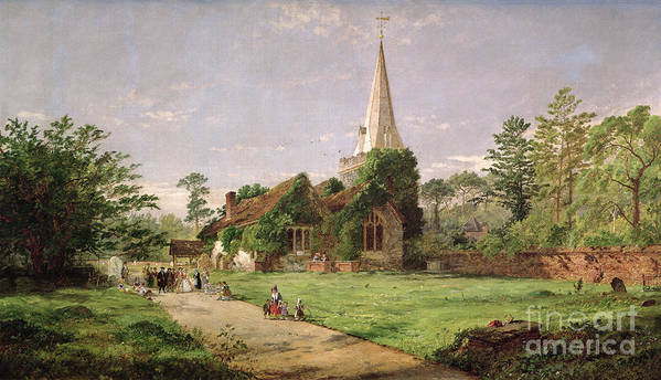 Stoke Art Print featuring the painting Stoke Poges Church by Jasper Francis Cropsey