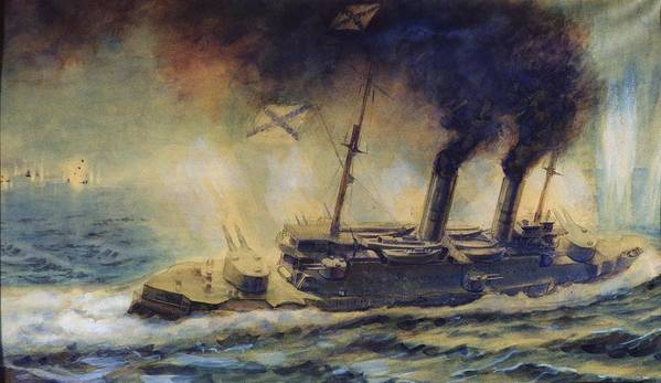 The Art Print featuring the painting The Battle Of The Gulf Of Riga by Mikhail Mikhailovich Semyonov