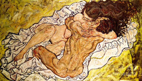 The Art Print featuring the painting The Embrace by Egon Schiele