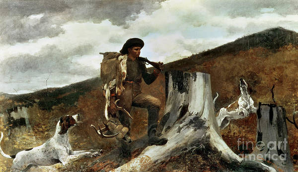 The Hunter And His Dogs Art Print featuring the painting The Hunter And His Dogs by Winslow Homer