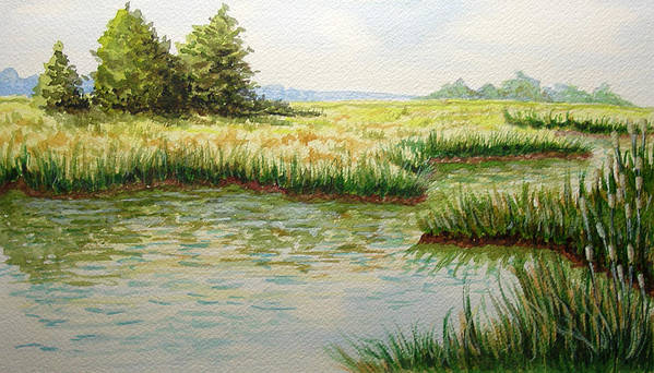 Landscape Art Print featuring the painting The Marshes by JoAnne Castelli-Castor