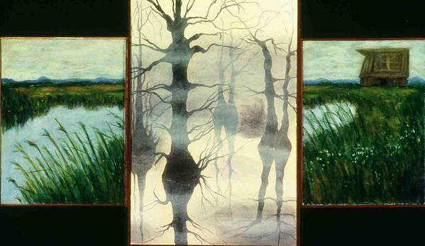 Triptych Art Print featuring the painting Triptych by Helen O Hara