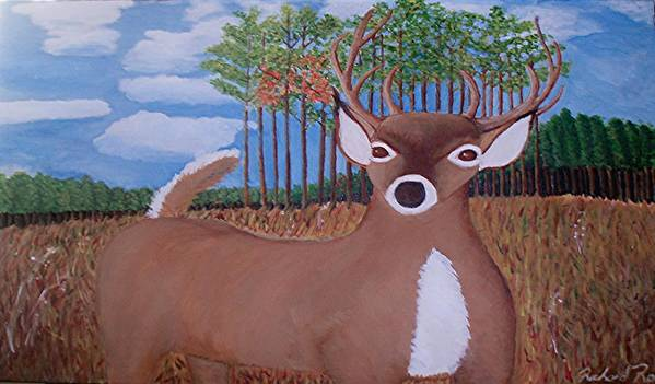 White Tall Dear Art Print featuring the painting Whit Tall Buck by Richard Rollings
