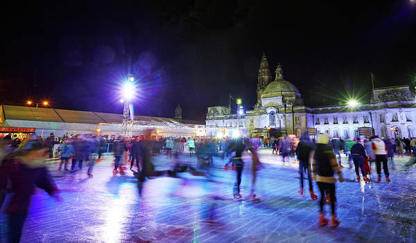 People Art Print featuring the photograph Ice Rink With Cardiff City Hall by Allan Baxter
