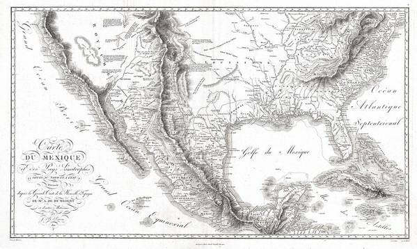 1811 Humboldt Map Of Mexico Art Print featuring the photograph 1811 Humboldt Map Of Mexico Texas Louisiana And Florida by Paul Fearn