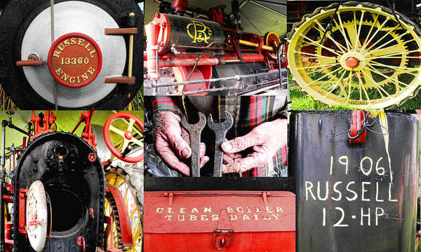 Collage Art Print featuring the photograph 1906 Russell Steam Engine by Kristie Bonnewell