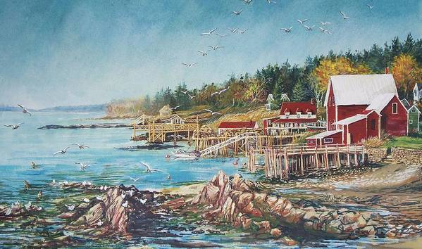 Seagulls Art Print featuring the painting Across The Bridge by Joy Nichols