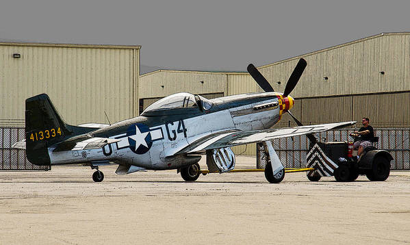 P-51 Art Print featuring the photograph Back Into The Hangar by Chris Sarenana