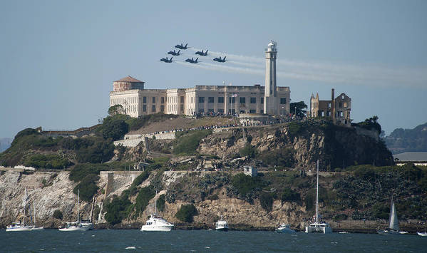 Navy Art Print featuring the photograph Blue Angels Over Alcatraz by Mountain Dreams