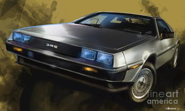 Classic Cars Art Print featuring the digital art Dmc Sports Car by Uli Gonzalez