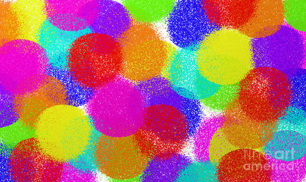 Abstract Art Print featuring the digital art Fuzzy Polka Dots by Andee Design