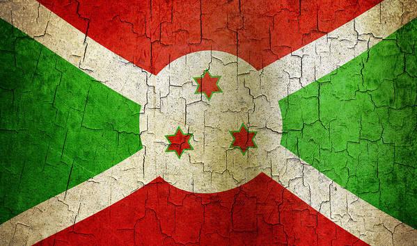 Aged Art Print featuring the digital art Grunge Burundi Flag by Steve Ball