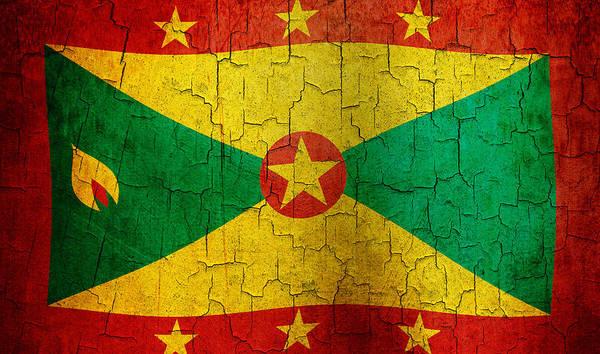 Aged Art Print featuring the digital art Grunge Grenada Flag by Steve Ball