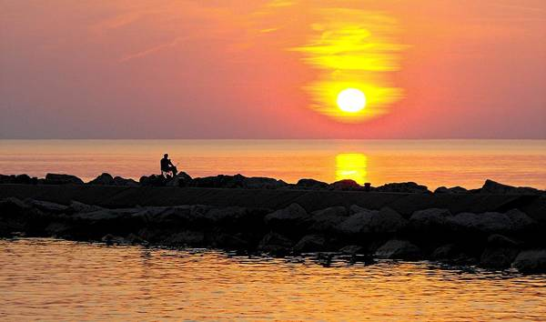 Sunset Art Print featuring the photograph Lake Michigan Sunset by Bill Brown