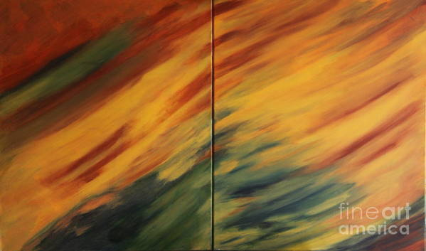 Landscape Art Print featuring the painting Landscape - Diptych by Christiane Schulze Art And Photography