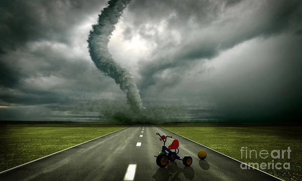 Large Tornado Print featuring the photograph Large Tornado by Boon Mee