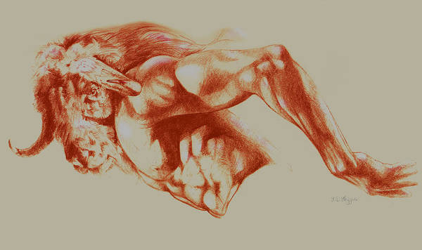 Nude Art Print featuring the drawing North American Minotaur Red Sketch by Derrick Higgins