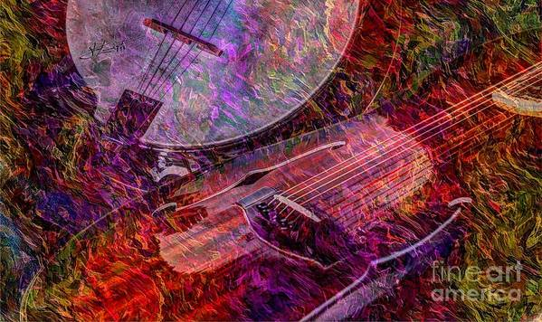 Banjo Art Print featuring the photograph Pickin And A Grinnin Digital Banjo And Guitar Art By Steven Langston by Steven Lebron Langston