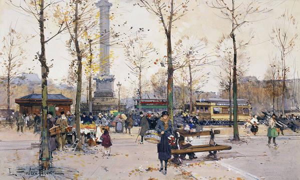 Jacques Lieven Art Print featuring the painting Place De La Bastille Paris by Eugene Galien-Laloue