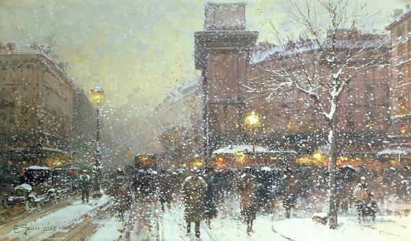 Winter Art Print featuring the painting Porte St Martin In Paris by Eugene Galien Laloue