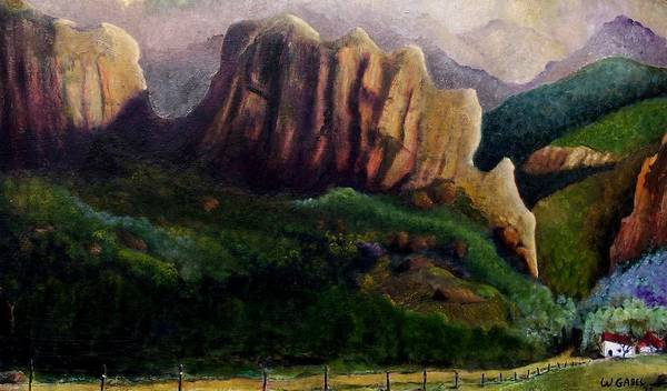 Landscape Art Print featuring the painting Senneca Rocks by William Gabel