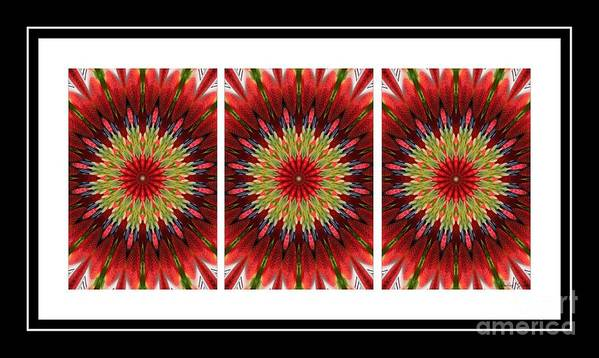 Strawberry Explosion Triptych Kaleidoscope Art Print featuring the photograph Strawberry Explosion Triptych - Kaleidoscope by Barbara Griffin