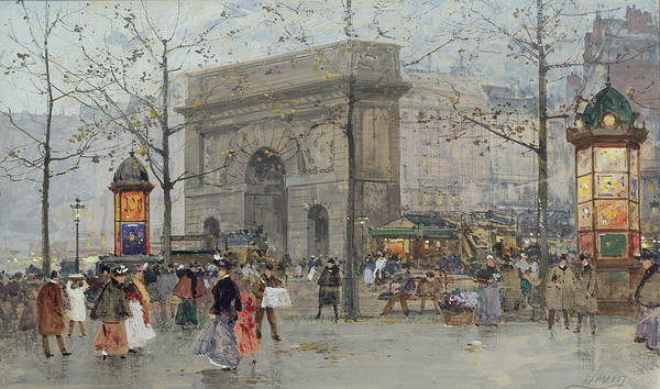 C19th Art Print featuring the painting Street Scene In Paris by Eugene Galien-Laloue