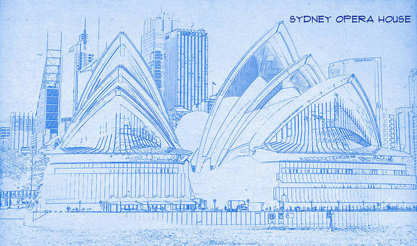 Sydney opera house blueprint drawing art print by motionage designs sydney opera house blueprint drawing art print featuring the digital art sydney opera house malvernweather Image collections