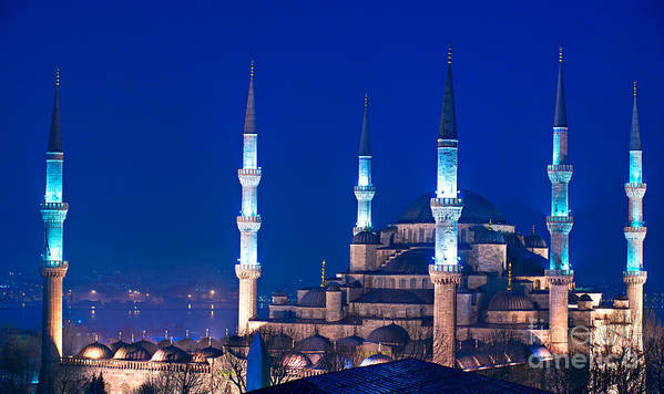 Arabic Art Print featuring the photograph The Blue Mosque - Istanbul by Luciano Mortula
