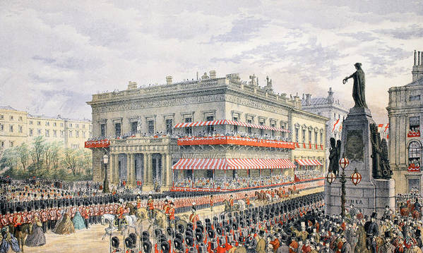 Waterloo Art Print featuring the painting Waterloo Place And Pall Mall by English School