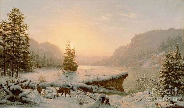 Scene; Remote; American; Landscape; Countryside; Rural; Wilderness; Deer; Animal; Animals; Nature; Snow; Snow-covered; Fir-tree; Fir; Tree; Trees; Firs; Lake; River; Dawn; Dusk; Morning; Evening; Sunrise; Sunset; Atmospheric; Beauty; Beautiful; Spectacular; Majestic; Buck Art Print featuring the painting Winter Landscape by Mortimer L Smith