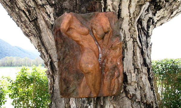Nude Woman Torso Sculpture Art Print featuring the relief Woman Torso Relief by Flow Fitzgerald
