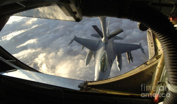 Horizontal Art Print featuring the photograph A Kc-135 Stratotanker Connects With An by Stocktrek Images