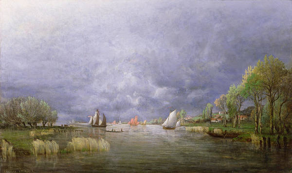 River; Landscape; Stormy; Flooded; Swollen; Village; Sailing Boats; Sky; Grey Art Print featuring the painting Banks Of The Loire In Spring by Charles Leroux