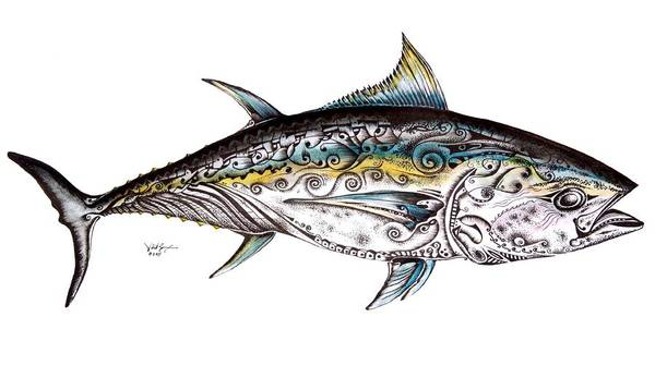 Blue Fin Art Print featuring the painting Beautiful Blue Fin by J Vincent Scarpace