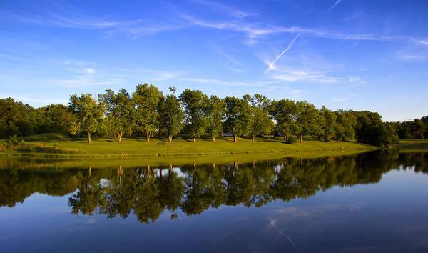 Broemmelsiek Park Print featuring the photograph Broemmelsiek Park - Spring Reflections by Bill Tiepelman