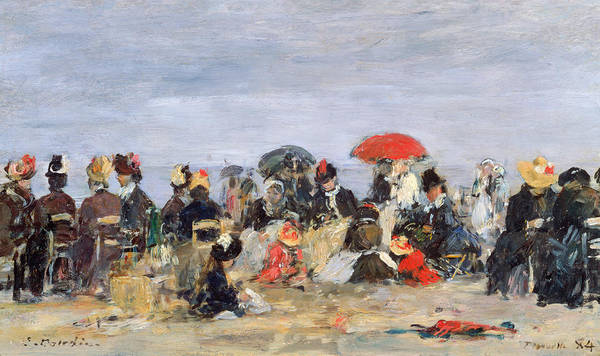 Figures Art Print featuring the painting Figures On A Beach by Eugene Louis Boudin