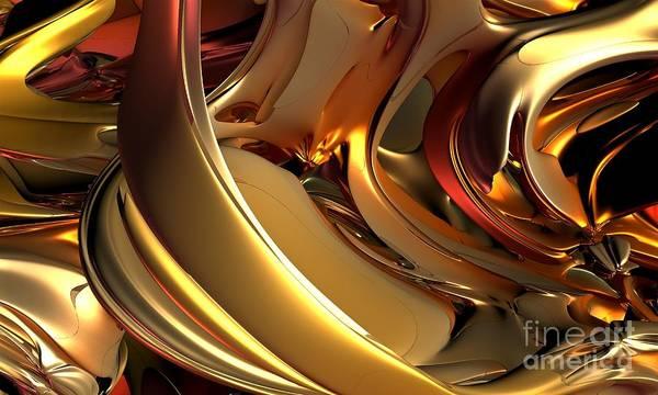 Digital Art Art Print featuring the digital art Fractal - Golden Metal by Bernard MICHEL