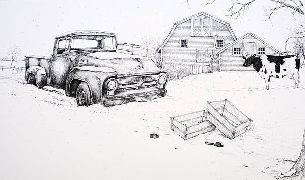 Pen And Ink Print featuring the drawing Late Season Apples by Scott Nelson