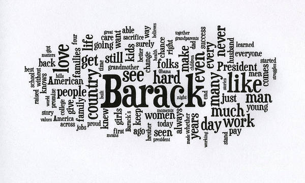 Michelle Obama Art Print featuring the photograph Michelle Obama Wordcloud At D N C by David Bearden