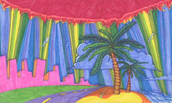 Trees Art Print featuring the painting Pink City by James Davidson