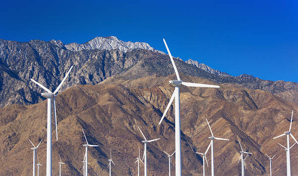 Horizontal Art Print featuring the photograph Usa, California, Palm Springs, Wind Farm by Tetra Images