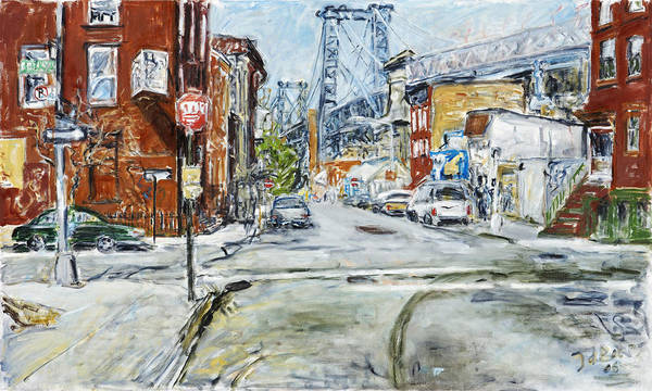 City Scape New York Bridge Road Houses Cars Art Print featuring the painting Williamsburg3 by Joan De Bot