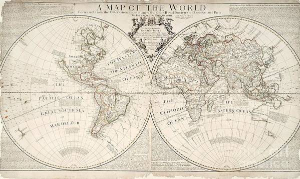 Map Print featuring the painting A Map Of The World by John Senex