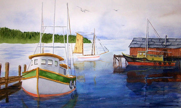 Puget Sound Art Print featuring the painting After The Fishing Is Done by Robert Thomaston