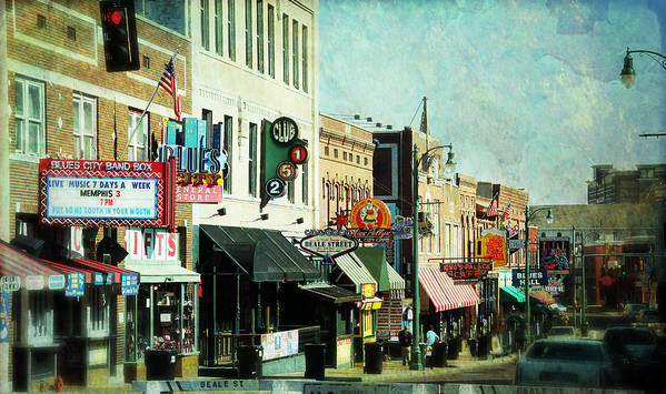 Beale Print featuring the photograph Beale Street Blues by Suzanne Barber