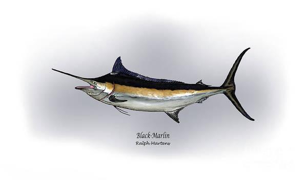 Black Marlin Art Print featuring the drawing Black Marlin by Ralph Martens