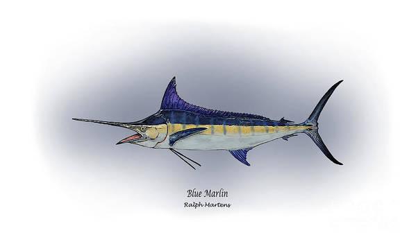 Blue Marlin Art Print featuring the painting Blue Marlin by Ralph Martens