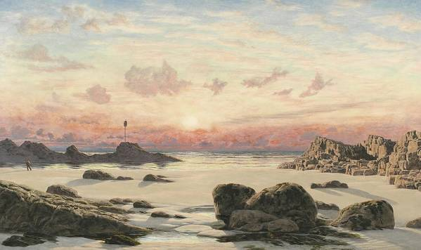 Bude Art Print featuring the painting Bude Sands At Sunset by John Brett