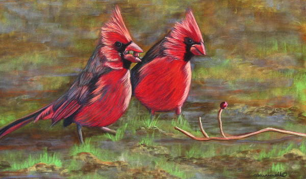 Bird Artwork Art Print featuring the pastel Cardinal Two by Tracey Hunnewell